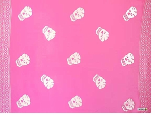 "Skull Sarong ""Pink and White"""