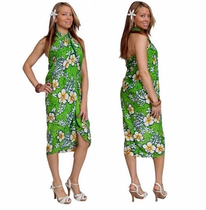"Hibiscus Sarong ""Lime Green / Green"""