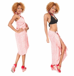 Tiny Hibiscus Floral Sarong in Coral