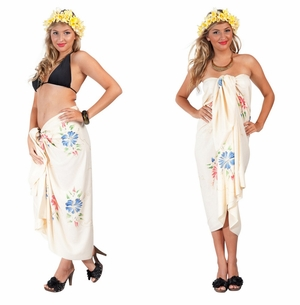 Top Quality Sarong Embroidered/Hand Painting in Cream