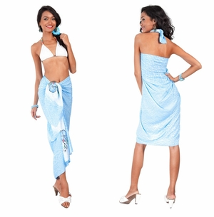 Top Quality Sarong Embroidered/Hand Painting in Light Blue