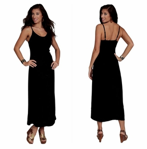 Womens Long Dress / Longdress in Black Embroidered Sequined