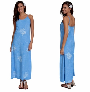 Womens Long Summer Dress in Hibiscus Blue