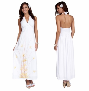 Womens Long Dress - Halter - Bamboo White