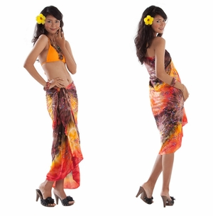 Embroidered Tie Dye Sarong in Orange/Purple