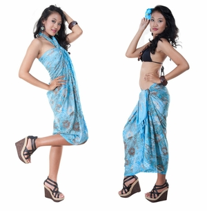 Abstract Top Quality Sarong in Turquiose