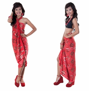 Abstract Top Quality Sarong in Red