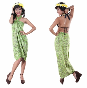 Floral Design Top Quality Sarong in Green
