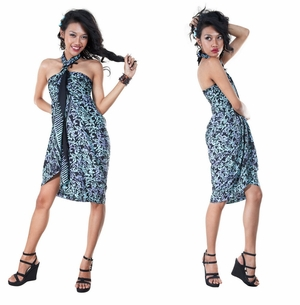 Floral Design Top Quality Sarong in Black