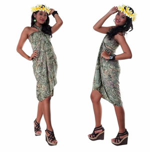 Floral Design Top Quality Sarong in Dark Green