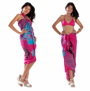 Tropical Floral Sarong in Hot Pink