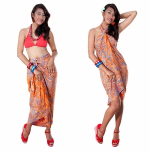 Floral Top Quality Sarong in Orange