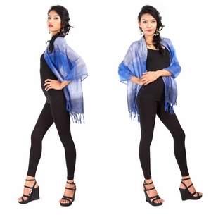 Two Toned Silky Scarf in Blue - Assorted