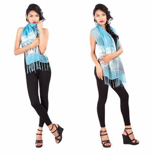 Elegant Silky Scarf in Light Turquoise - Assorted
