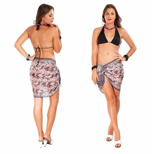 Half Silk Sarong in Brown - Assorted