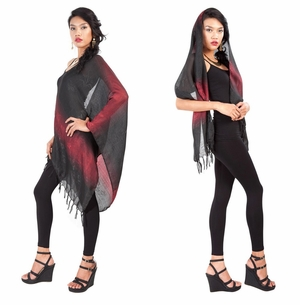 Two Toned Silky Scarf in Black - Assorted