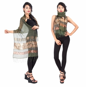 Elegant Silky Scarf in Olive Green - Assorted