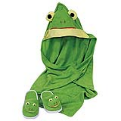 Toddler Bath Frog Hooded Towel & Slipper Set