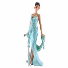 "African American Expressions - Grace Teal Dress Figurine - Glamour Series (5.5"" x 4.2"" x 13.6"") FGL-03"
