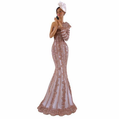"African American Expressions - Virtuous Champagne Dress Figurine - Glamour Series (5.2"" x 5.1"" x 13.6"") FGL-02"