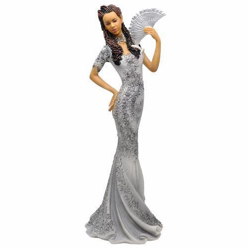 """African American Expressions - Glamour Silver Dress Figurine - Glamour Series (4.8"""" x 4.4"""" x 12.8"""") FGL-01"""