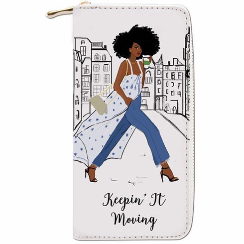 """African American Expressions - Keepin' It Moving Wallet (4"""" x 7.75"""" x 1"""" / 8 card slot) - WL06"""