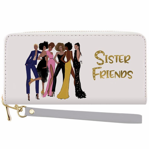 African American Expressions - Wallet with Strap, Sister Friends, 7.75 x 4 Inches, WL-14