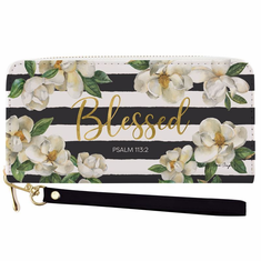 African American Expressions -  Wallet with Strap, Blessed Magnolia, 7.75 x 4 Inches, WL-17