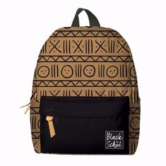 African American Expressions BP03 Brown Mudcloth Pattern Backpack Set