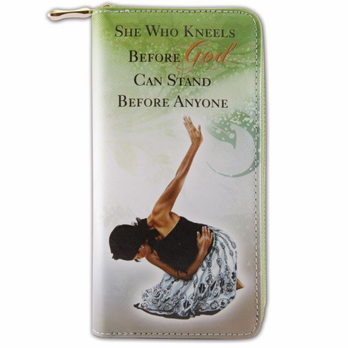 """African American Expressions - She Who Kneels Wallet (4"""" x 7.75"""" x 1"""" / 8 card slot) - WL02"""