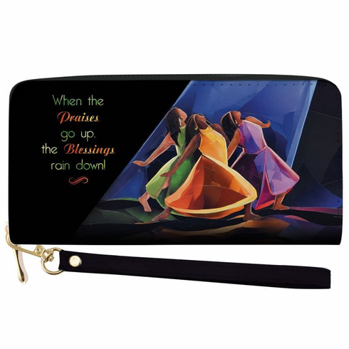 African American Expressions - Wallet with Strap, Praises Go Up, 7.75 x 4 Inches, WL-16