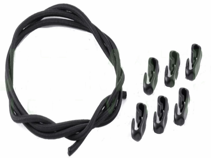 Elastic Shock Cord and Clip Hook Kit - Black