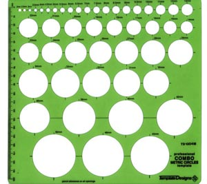 Pickett Metric Circle Master Template 1304I 48 Circles 2mm to 50mm Size