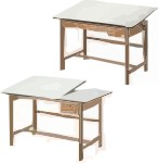 Titan II Oak Wood Alvin Drafting Tables 45° Tilt