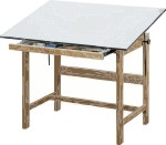 Titan Alvin Oak Wood Drafting Tables 45° Tilt