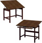 Titan Walnut Wood Alvin Drafting Tables 45° Tilt