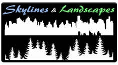 "AEROSPACE Airbrush Stencils - <font color=""99CCFF"">Skylines </font>and <font color=""66CC33"">Landscapes</font>"