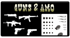 "AEROSPACE Airbrush Stencils - <font color=""CCCC00"">Guns and Amo</font>"