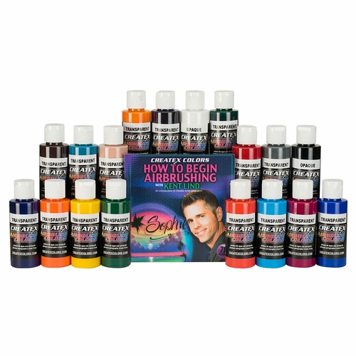 Createx Colors Set of 18 Airbrush Colors with DVD