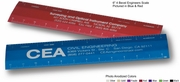 """6"""" Blue Engineers Scale 4-bevel Custom Imprint Promotional Product"""