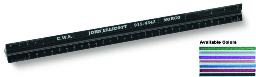 "12"" Architects Scales Solid Aluminum Blank Edge for Custom Imprinted Promotional Products"