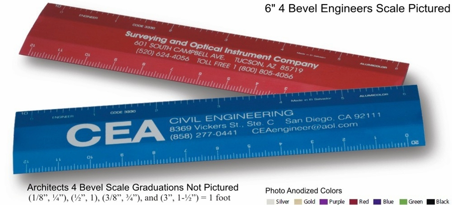 """Architects Scales 6"""" 4-bevel Aluminum Custom Imprinted Promotional Products"""