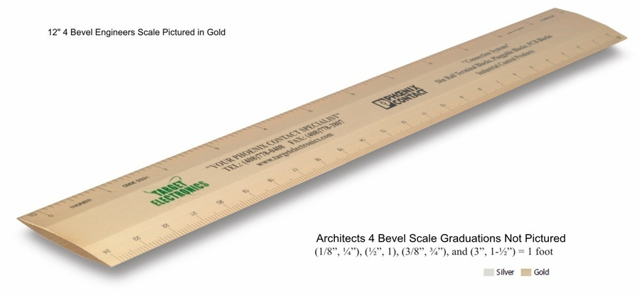 "Architects Scales 12"" 4-bevel Aluminum Custom Imprinted Promotional Products"