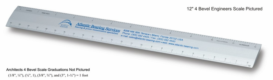 "Architects L2R Scales 6"" & 12"" 4-bevel Aluminum Custom Imprinted Promotional Products"