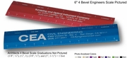 """6"""" Red Architects Scale 4-bevel Custom Imprint Promotional Product"""