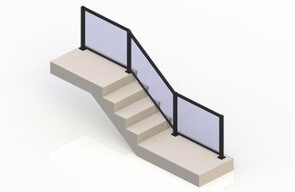 Black eGlass Element™ System - Stair Transition