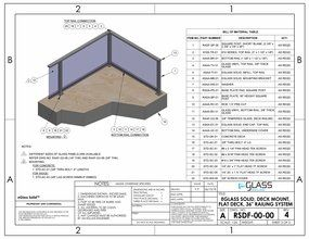 eGlass Solid&trade; System Drawings <br> Deck Mount