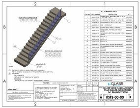 eGlass Solid&trade; System Drawings <br> Fascia Mount w/o Brackets for Stairs