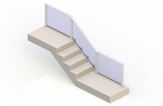 White eGlass Solid™ System - Stair Transition