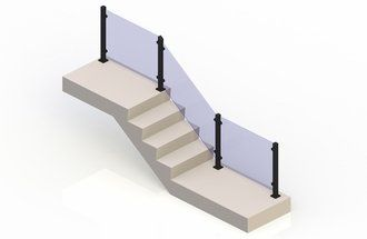 Black eGlass Vision™ System - Stair Transition